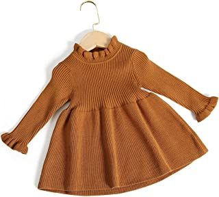 Simplee kids Little Girls' Long Sleeve Cozy Casual Ribbed Knit Sweater Dress