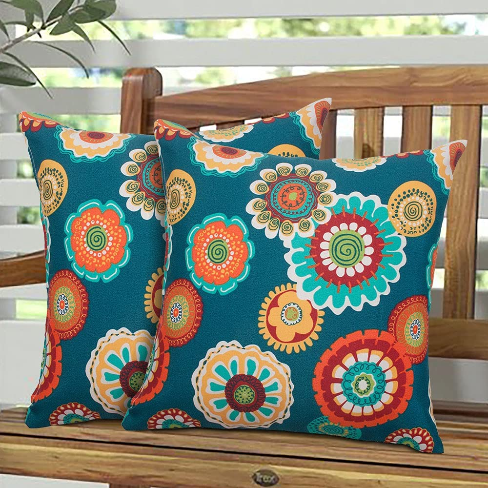 Magpie Fabrics Pack of 2 Outdoor Waterproof Throw Pillow Covers 18 x 18 Inch, Decorative Cushion Sham Pillowcase Shell for Garden Patio Tent Balcony Couch Sofa(Heronsbill Turquoise Green)