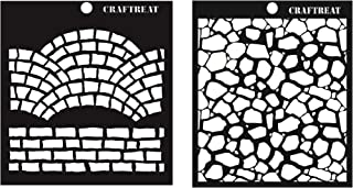 Craftreat Brick Pattern Stencil for Craft - Fancy Bricks and Stone Background Stencil - 6X6 Inches - 2 Pcs - Reusable DIY ...