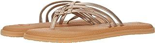 Sanuk Women's Yoga Salty Shimmer Metallic Sandal, Rosegold, 6 M US