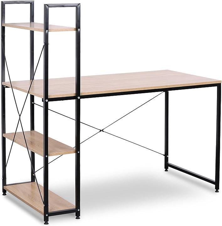 Woltu tsb01hei scrivania con libreria a 4 ripiani tavolo pc lavoro moderno in acciaio legno 120x64x120cm WTSB01hei