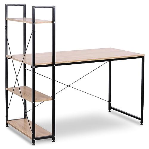 WOLTU TSB01hei Bureau d'ordinateur Table de Bureau à Domicile Station de Travail en Bois et Acier avec étagère, Environ 120x64x120cm,15,08kg
