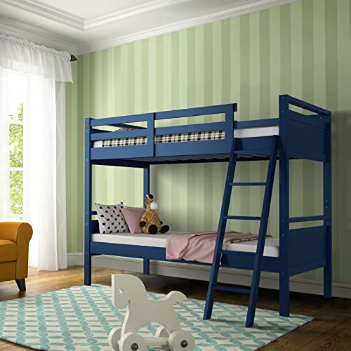 Giantex Twin Over Twin Bunk Bed, Solid Wood Twin Bunk Bed Convertible Into Two Individual Beds, Kids Twin Bunk Bed w/ Ladder & Guard Rail for Boys Girls (Navy)