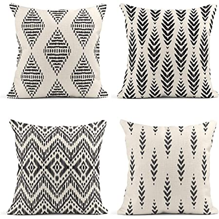 Amazon Com Artsocket Set Of 4 Throw Pillow Covers Ikat Tribal And Boho Bohemian Ethnic Herringbone For Ideas Chevron Decor Linen Pillow Cases Home Decorative Square 18x18 Inches Pillowcases Kitchen Dining