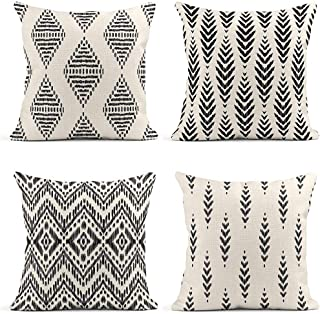ArtSocket Set of 4 Throw Pillow Covers Ikat Tribal and Boho Ethnic Herringbone for Ideas Chevron Decor Linen Pillow Cases Home Decorative Square 18x18 Inches Pillowcases