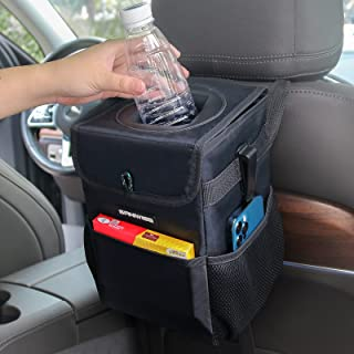 SANIWISE Car Trash Can with Lid, Foldable Hanging Car Trash Bag with Waterproof Liner, Console and Headrest Garbage Bin with Storage Pockets, Car Organizer Multifunctional