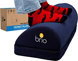 BRIO Sweet Relief Foot Rest Under Desk Adjustable Height - Comfy Yet Firm Desk Foot Rest to Relieve Back, Hip, Knee, Plantar Fasciitis, Sciatic Pain - Foot Stool for Under Desk at Work, Travel & Home
