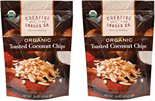 Creative Snacks Naturally Delicious Organic Toasted Coconut Chips, 2 Pack, 16 Ounce Resealable Bags