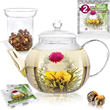 Teabloom Stovetop & Microwave Safe Glass Teapot (34-40oz/1000-1200ml) with Removable Loose Tea Glass Infuser – Includes 2 Blooming Teas – Premium Quality Teapot Gift Set