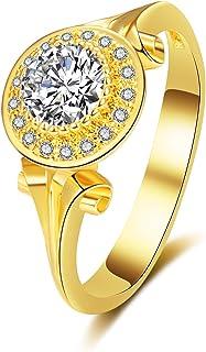 BAYAM 单钻光环锆石戒指 14K 镀金光环订婚结婚戒指 女士