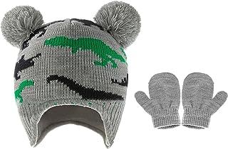 Gujugm Zestaw czapek i rękawiczek dla dzieci, ciepły kapelusz i rękawice, dinozaur czapka polarowa czapki dla niemowląt ma...