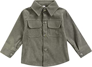 Toddler Baby Boy Corduroy Fall Jacket Coat Causal Solid Long Sleeve Button Down Shirts Blouse Outwear
