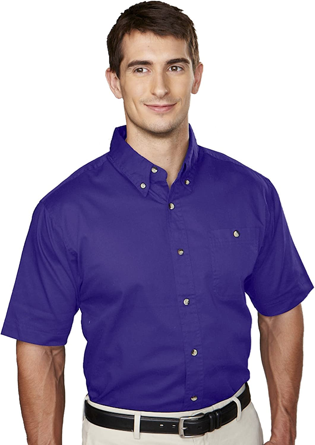 Big and Tall Short Sleeved 100% Cotton Twill Shirt in Purple