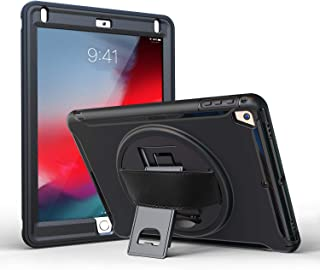 ProCase iPad 9.7 Case 2018 iPad 6th Gen / 2017 iPad 5th Gen Case, iPad Pro 9.7 Case, iPad Air 1/2 Case, Rugged Heavy Duty Shockproof Cover Case with Handle and Rotating Kickstand for iPad 9.7 –Black