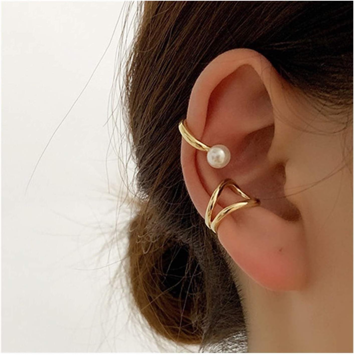 NO Hole Fake Piercing Metal Geometric Circle Earcuff Simple Bead Pearl Clip On Earrings for Women Fashion