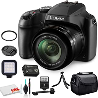 Panasonic Lumix DC-FZ80 Digital Camera (DC-FZ80K) - Bundle - with LED Video Light + Digital Flash + Soft Bag + 12 Inch Flexible Tripod + Cleaning Set + 55mm UV Filter