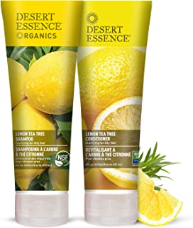 Desert Essence Lemon Tea Tree Shampoo & Conditioner Bundle - 8 Fl Oz - Clarifying For Oily Hair - Natural Essential Oils - Strengthen & Protect Hair - Effective Cleansing - Certified Organic