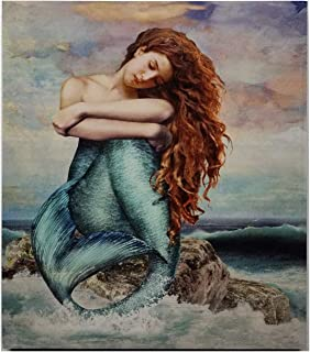 Timeless by Design Mermaid Meditation Wall Art Print on Wood Lacquered Finish 15x12 Inches
