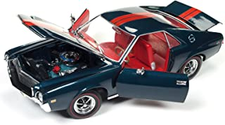 """1968 AMC AMX Hardtop Blazer Blue """"Class of 68"""" 50th Anniversary 1/18 and 1/64 2 Cars Set Limited Edition to 1002 pieces Worldwide Diecast Model Cars by Autoworld AMM1124"""