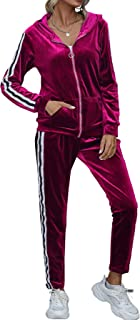 ECHOINE Womens Velvet Tracksuit 2 Pieces Outfit Hoodie Jogger Set with Pockets