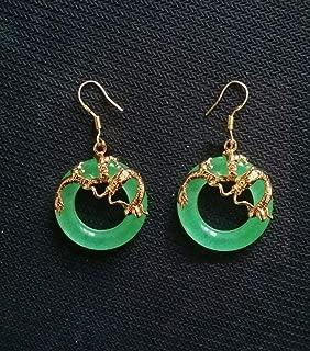 FidgetKute China Top Natural Light Green Jade 18K GP Yellow Gold Dragon Earrings AAA