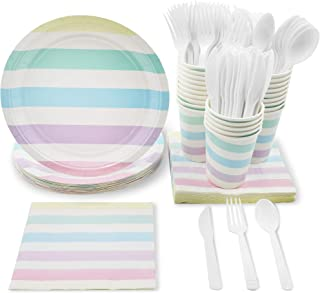 Blue Panda Pastel Stripes Party Supplies for Birthday, Baby Shower, and Girls Parties - Plates, Knives, Spoons, Forks, Napkins, and Cups, Serves 24