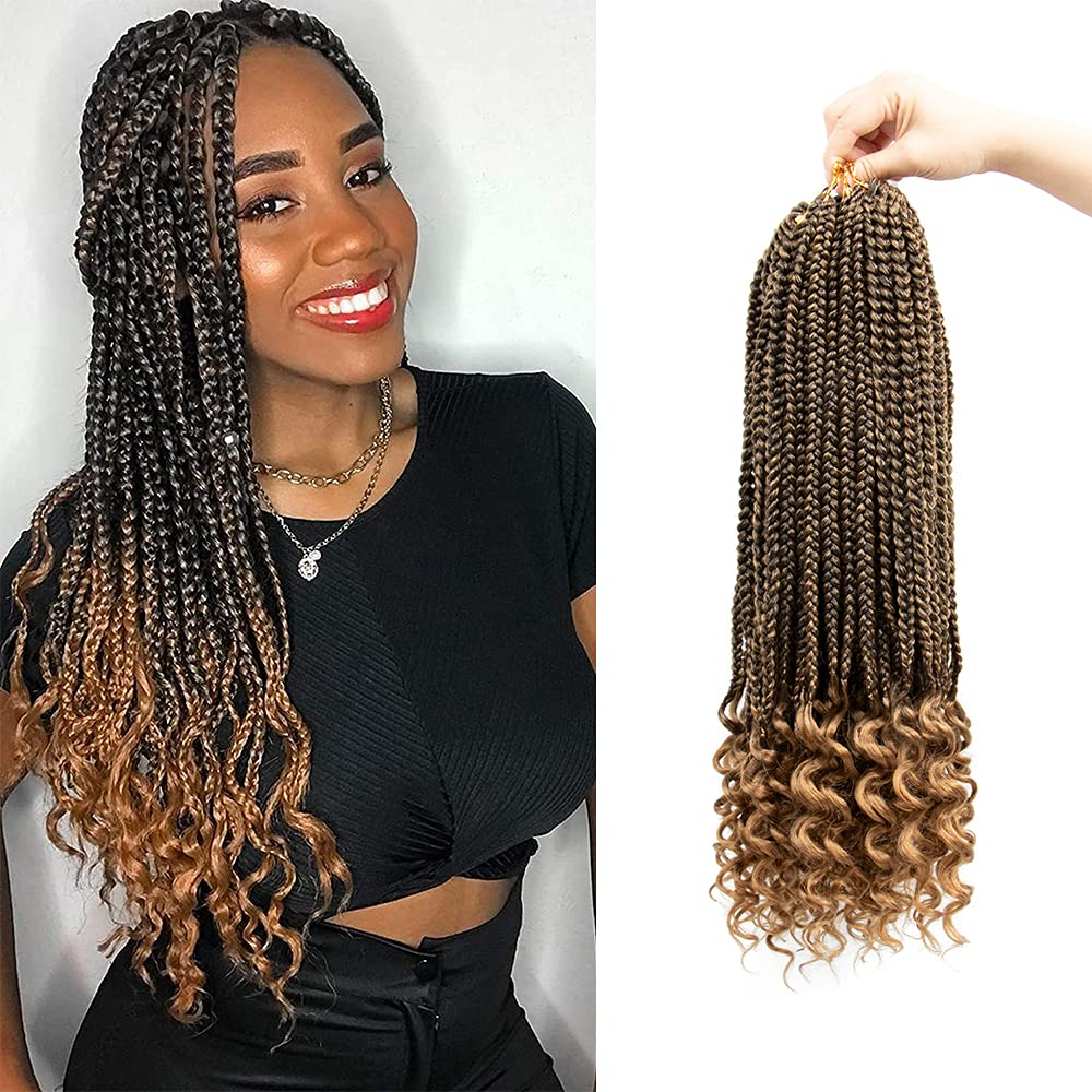 Crochet Box Braids Hair Curly Ends Women For B Max 66% OFF Recommendation Black