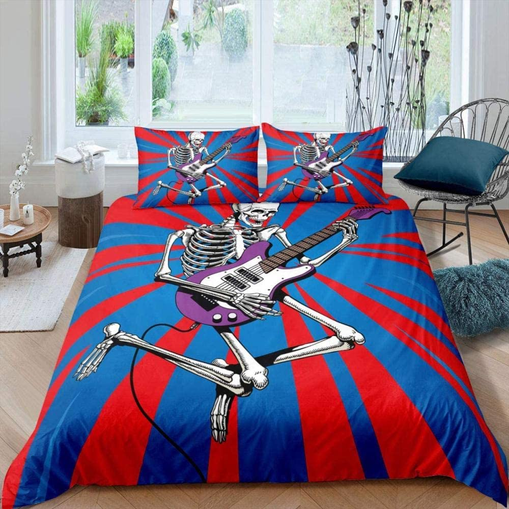 JCYUEDRN 3D Boys Bedding Set Playing Very popular Man Limited time cheap sale Guit Skeleton Halloween