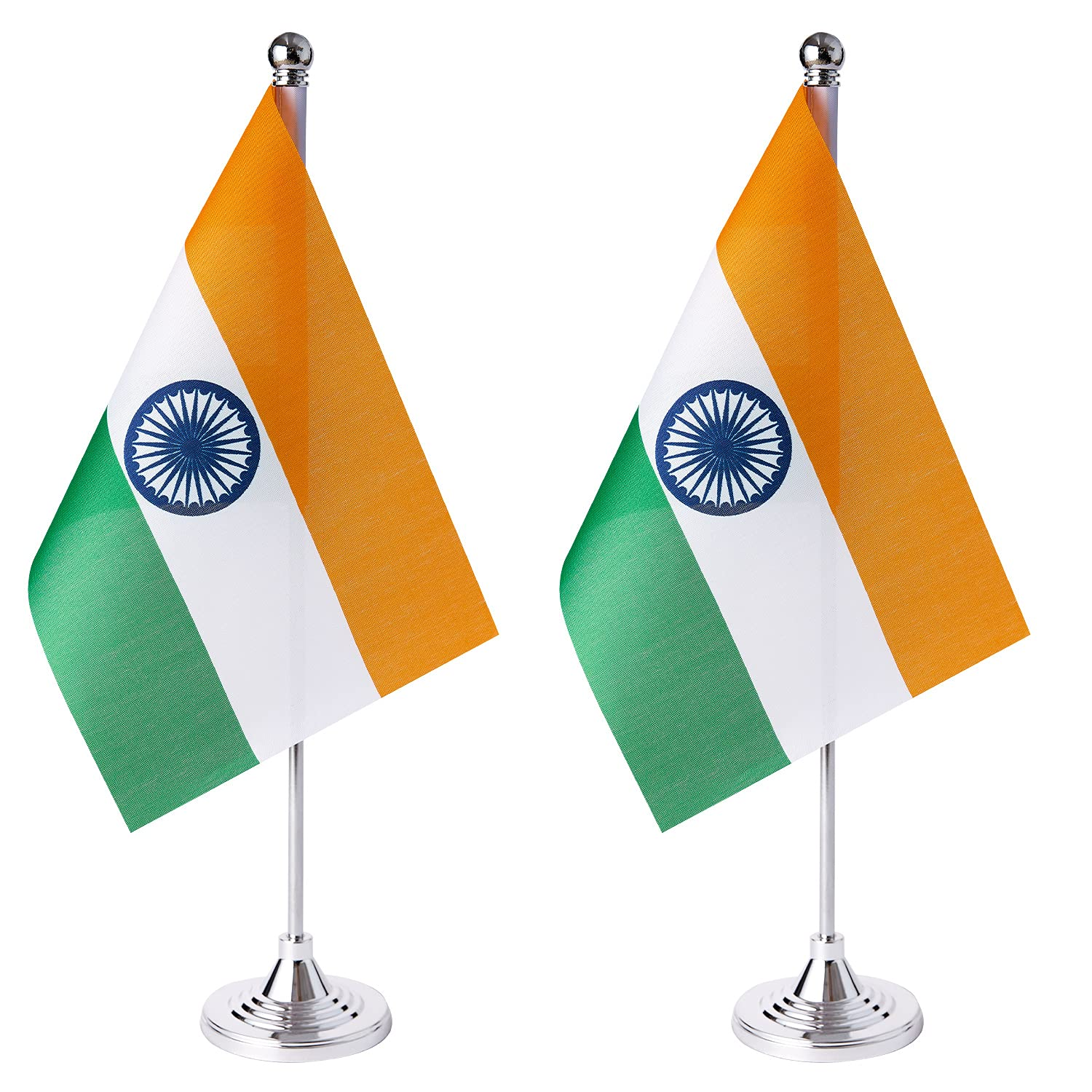 ZXvZYT 2 Pack India flag Indian Table Flag Small Mini Indian Desk Flags With Stand Base,International Festival Events Celebration Decorate,Home office Decorations