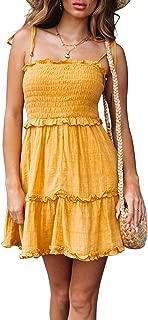 Women's Summer Spaghetti Strap Solid Color Ruffle Backless A Line Beach Short Dress