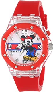 Disney Kids' MK1268 Mickey Mouse Light-Up Watch with Red Rubber Strap
