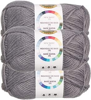 Lion Brand (3 Pack) New Basic Acrylic & Wool Soft Grey Yarn for Knitting Crocheting Medium #4