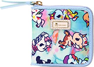 Watercolor Paradise Small Zip Around Wallet in Blue/Multi