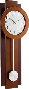 "Bulova C3383 Avent Pendulum Deco Wall Clock, C3383, Walnut/Mahogany, 18"""