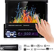 Ezonetronics Single 1Din 7 inch Slip Down Car Stereo,in Dash 1080P TFT/LCD Touch Screen..