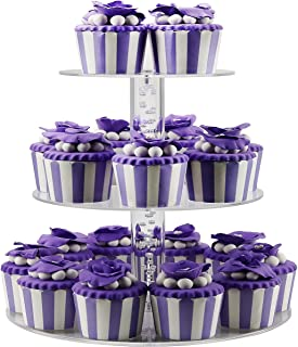 DYCacrlic 3 Tier Acrylic Birthday Cupcake Stand,Tiered Party Display Cake Stands, Mini Cupcakes Tower Holder Tree (Round Bubble Rod, Clear,2018 New Style)