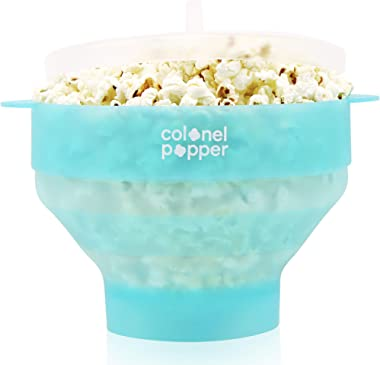 Original Colonel Popper Healthy Microwave Popcorn Maker - LFGB Food Grade Certified BPA Free Popcorn Poppers (Transparent Min