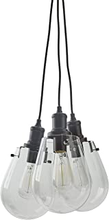 Stone & Beam Melissa Industrial Round Glass Cluster Pendant Chandelier Fixture With 3 Light Bulbs - 6.75 x 6.75 Inches, 13.5 - 62.5 Inch Cord, Black