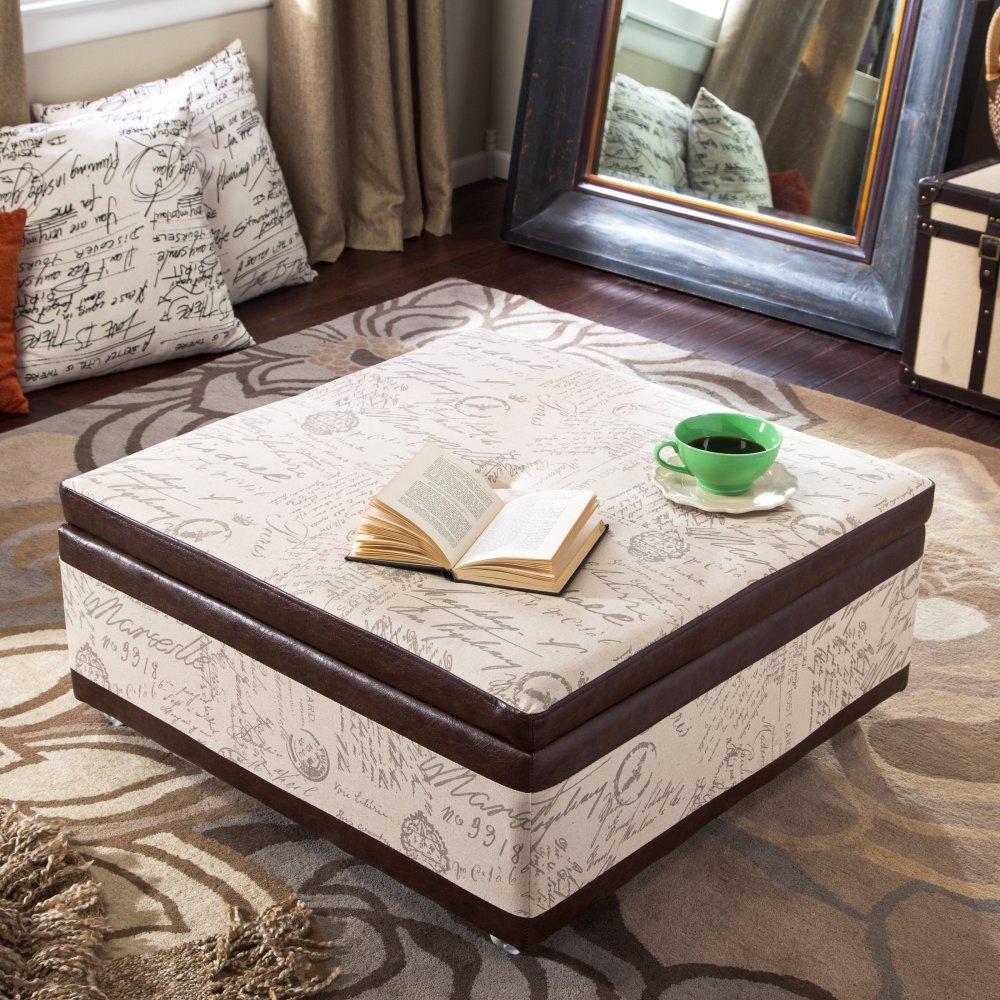 - Amazon.com: Armen Living Corbett Leather And Linen Coffee Table