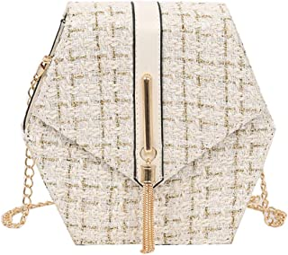 Wultia - Bags for Women 2019 Women Messenger Bag Shoulder Bag Chain Wool Tassel Small Square Bag Bolsa Feminina Beige