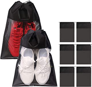 8 Pack Portable Shoe Bags for Travel Large Shoes Pouch Storage Organizer Clear Window with Drawstring for Men and Women Black