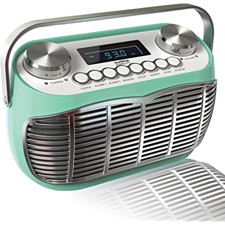 Detroit, FM AM Radio Alarm Clock Bedside Mains Powered Or Battery FM Retro Radio with LCD Display Clock Radio Alarm Clock Radio(Green)