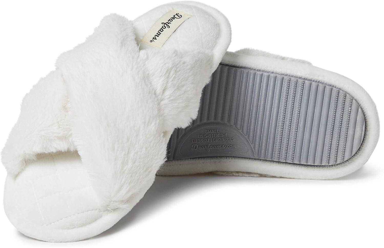 Dearfoams Women's Jessica faux faux fur Cross Band Slide Slipper
