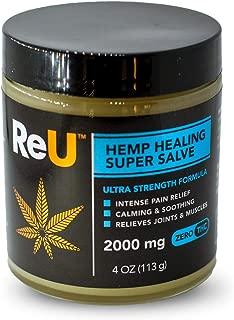 ReU Hemp Healing Pain Relief Salve - 2000MG Organic Hemp Extract Cream with Pure Natural Essential Oils - Made in USA (4 oz)