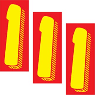 Windshield Pricing Numbers 7 1/2 Inch Red & Yellow for Car Dealers - Vinyl Adhesive Number One Sign Decals - Pack of 3 Dozen (#1) Stickers