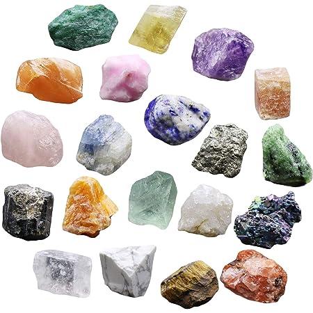 DERCLIVE Juego de 20 piezas de roca y minerales colección geología educación cristales minerales naturales especímenes minerales