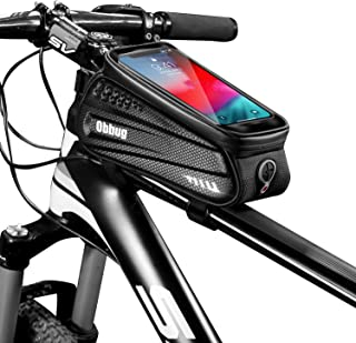 Bike Phone Mount Bag, Bicycle Waterproof Front Frame Top Tube Handlebar Bag with Touch Screen Rain Cover Large Capacity Ph...