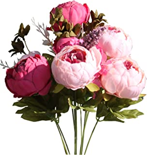 Mandy's Artificial Silk Dark Pink Peony Flowers Bouquet for Home Wedding Decoration (vase not Include)