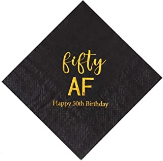 Crisky 50th Birthday Napkins Black Gold Fifty AF 50th Birthday Cocktail Napkins Beverage Napkins 50th Birthday Party Candy Table Decoration, 50 Count, 3-Ply