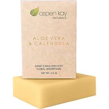 Aloe Vera & Calendula Soap, 100% Natural & Organic, With Organic Aloe Vera, Calendula & Turmeric. Use As a Face Soap, Body Soap or Shaving Soap. (Aloe Vera & Calendula 1 Pack)